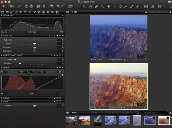 Capture d'écran Capture One Pro Mac