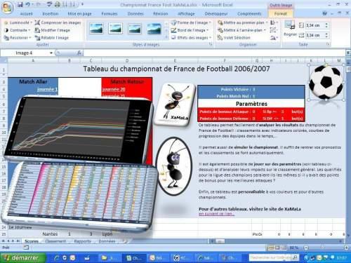 Capture d'écran Foot – Tableau Championnat de France (POUR les PROS)