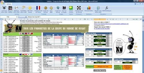 Capture d'écran Tableau Coupe du Monde Rugby 2011