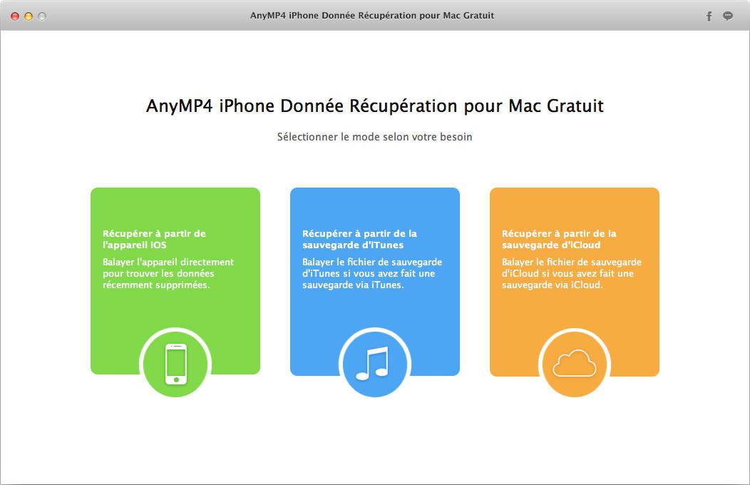 Capture d'écran AnyMP4 iPhone Donnée Récupération pour Mac Gratuit