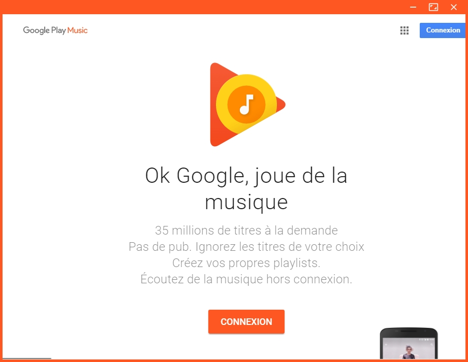 Capture d'écran Google Play Music Desktop Player