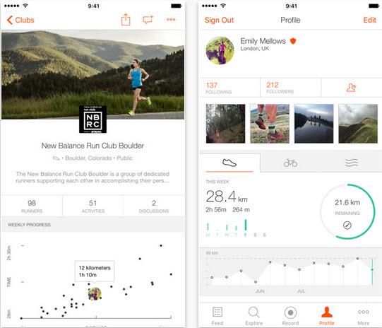 Capture d'écran Strava iOS