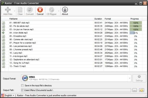 Capture d'écran Kastor Free Audio Converter