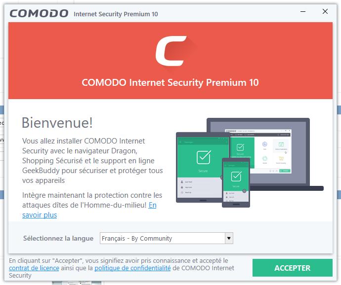 Capture d'écran Comodo Internet Security