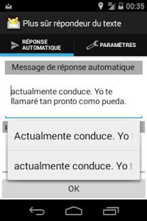 Capture d'écran Sûre texte de réponse