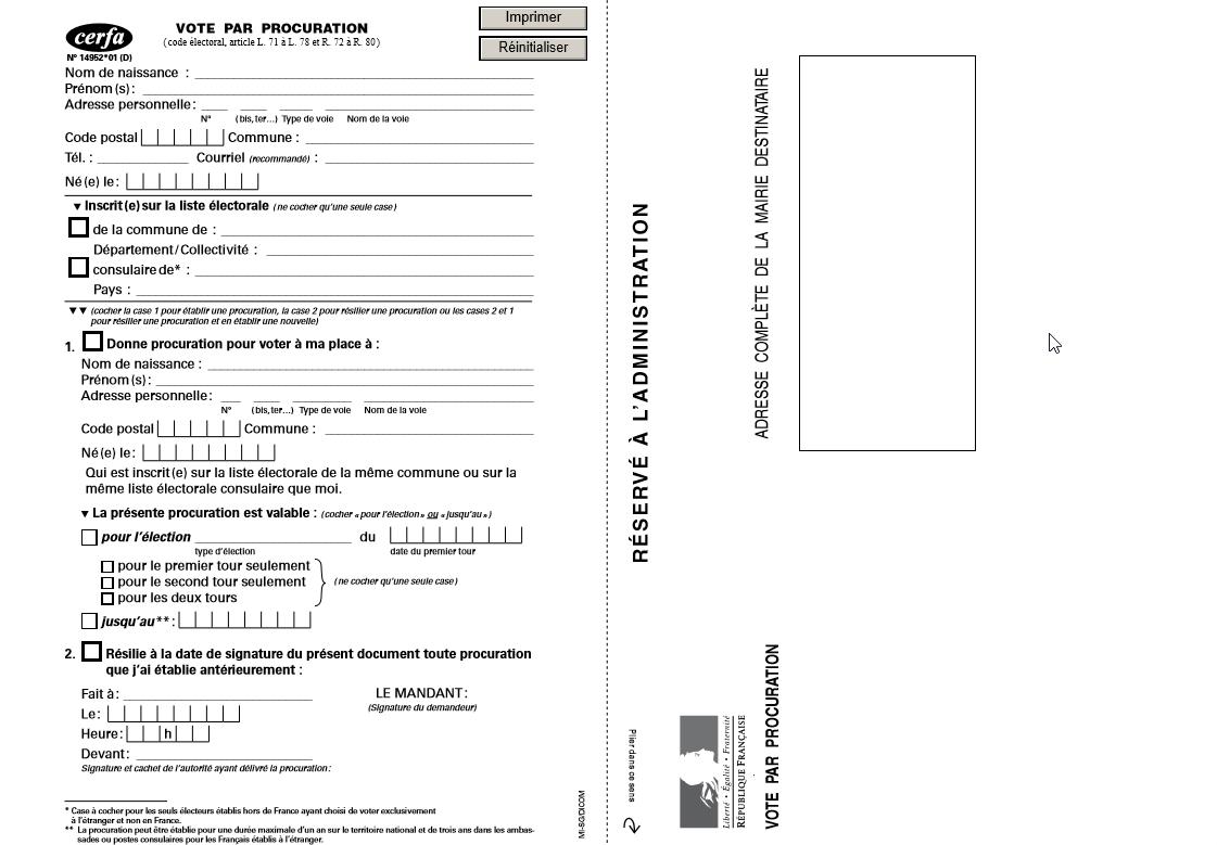 Capture d'écran Formulaire Procuration de vote