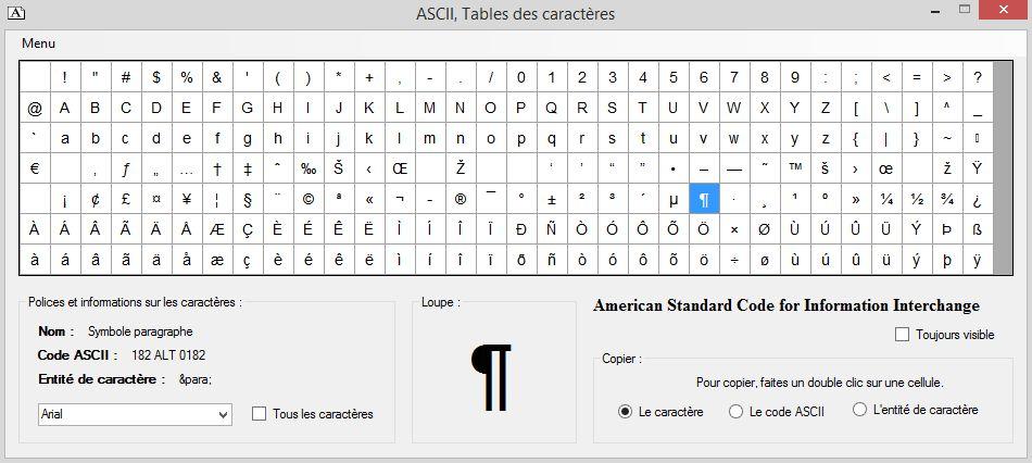 Capture d'écran ASCII Table des caractères