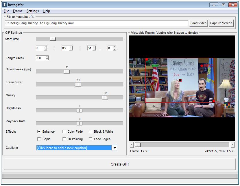 Capture d'écran Instagiffer