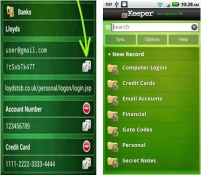 Capture d'écran Keeper Android