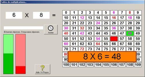 Capture d'écran Tables de multiplications