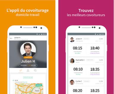 Capture d'écran WayzUp, covoiturage domicile-travail iOS
