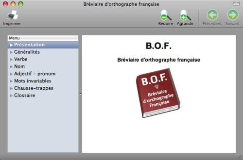 Capture d'écran Bréviaire d'orthographe française