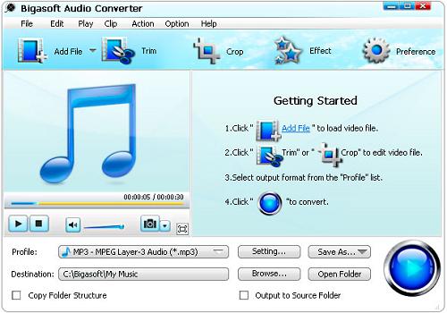 Capture d'écran Bigasoft Audio Converter