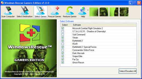 Capture d'écran WindowsRescue Gamers Edition