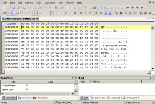 Capture d'écran HexAssistant Editeur Hexadecimal