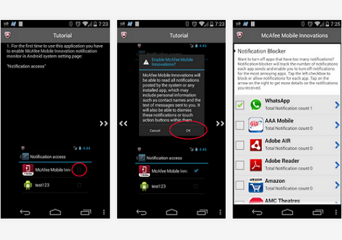 Capture d'écran McAfee Security Innovations Android