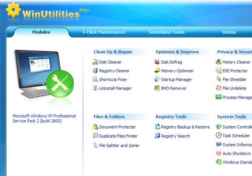 Capture d'écran WinUtilities Pro