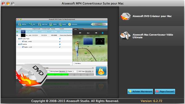 Capture d'écran Aiseesoft MP4 Convertisseur Suite pour Mac
