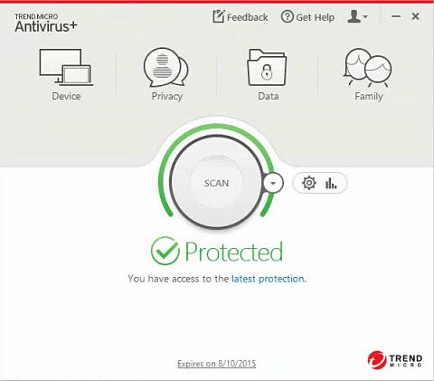 Capture d'écran Trend Micro Antivirus Plus