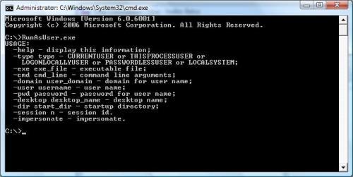 Capture d'écran RunAsUser DLL