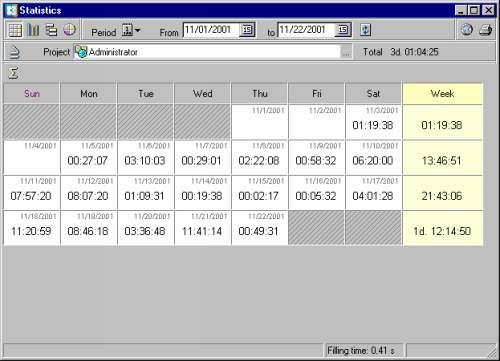 Capture d'écran WorkTime