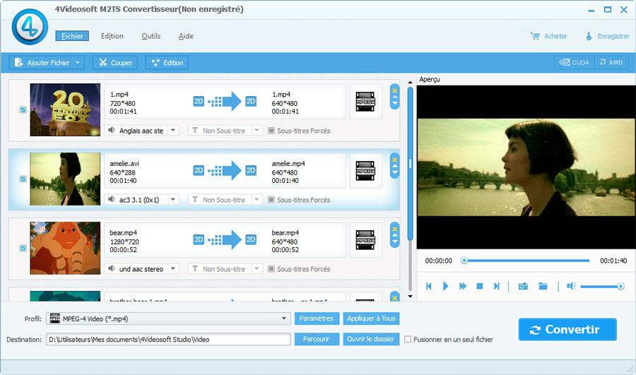 Capture d'écran 4Videosoft M2TS Convertisseur
