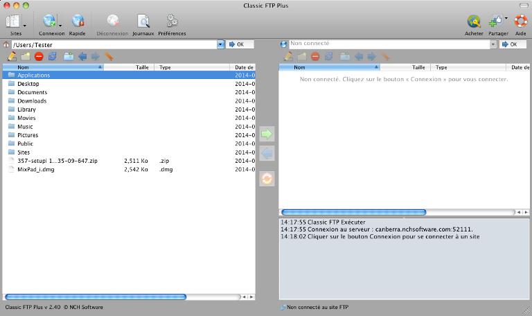 Capture d'écran Classic FTP – Logiciel de FTP gratuit pour Mac