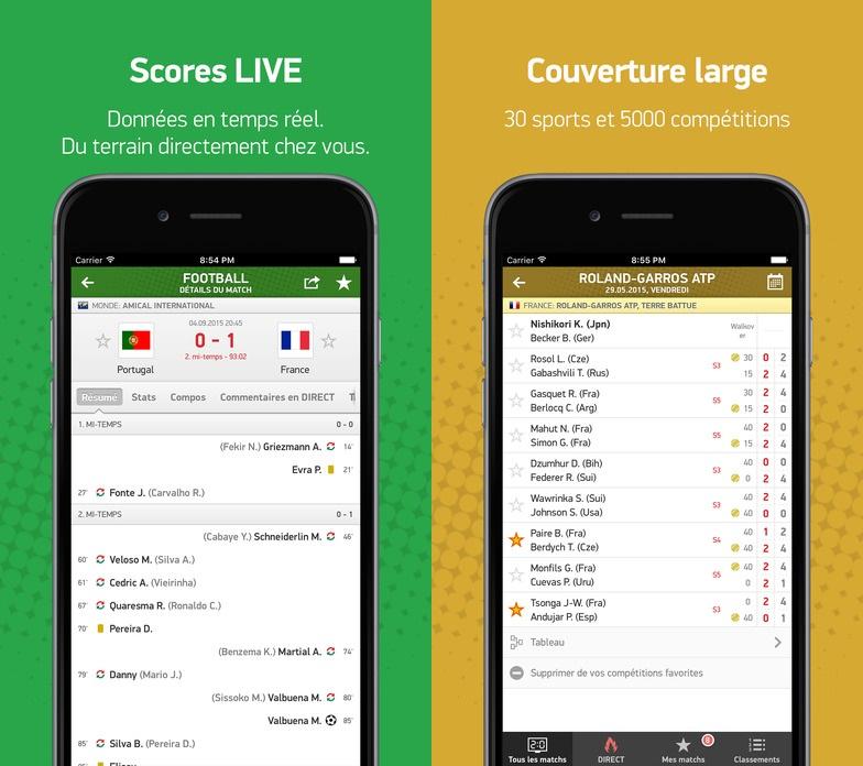 Capture d'écran Flash Résultats iOS