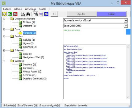 Capture d'écran Ma Bibliothèque VBA