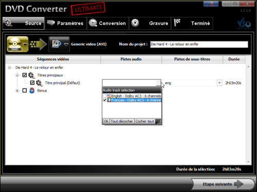 Capture d'écran DVD Converter