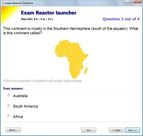 Capture d'écran Exam Reactor