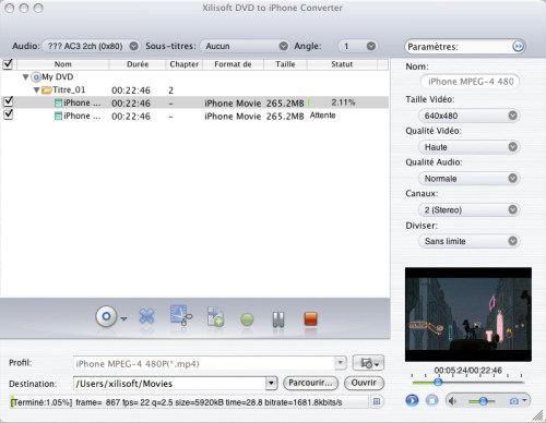 Capture d'écran Xilisoft DVD iPhone Convertisseur Mac