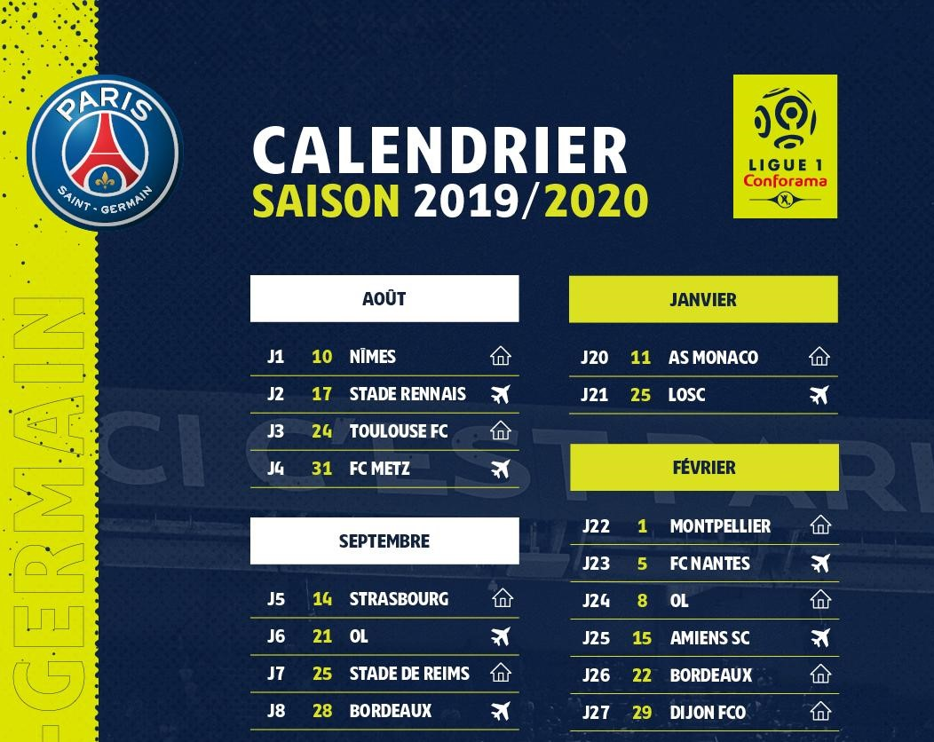 Capture d'écran Calendrier PSG Ligue 1