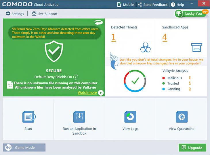 Capture d'écran Comodo Cloud Antivirus