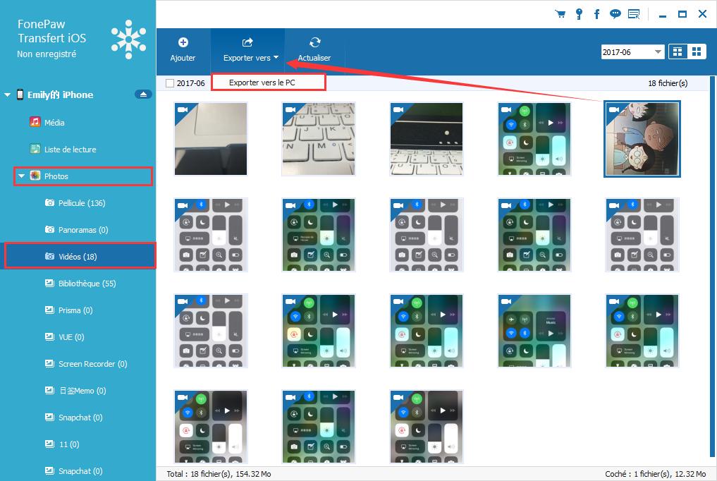 Capture d'écran FonePaw Transfert iOS