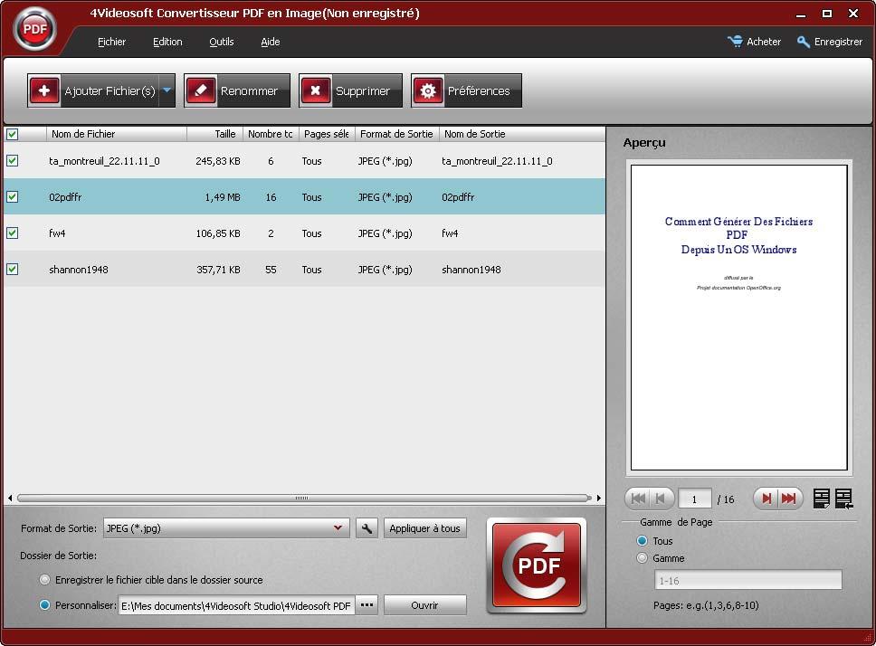 Capture d'écran 4Videosoft Convertisseur PDF en Image