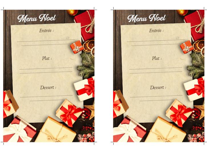 Capture d'écran Modèle de menu de Noël Word