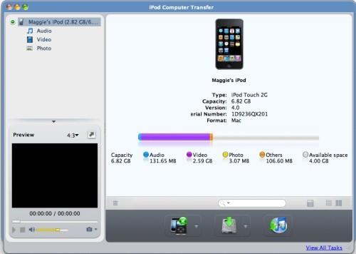 Capture d'écran ImTOO iPod Mac Transfert