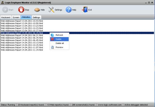 Capture d'écran Logix Employee Monitor