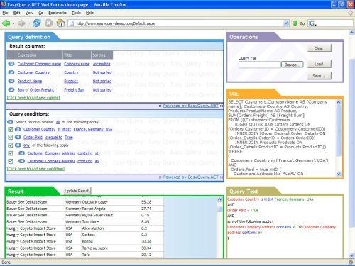 Capture d'écran EasyQuery.NET WebForms