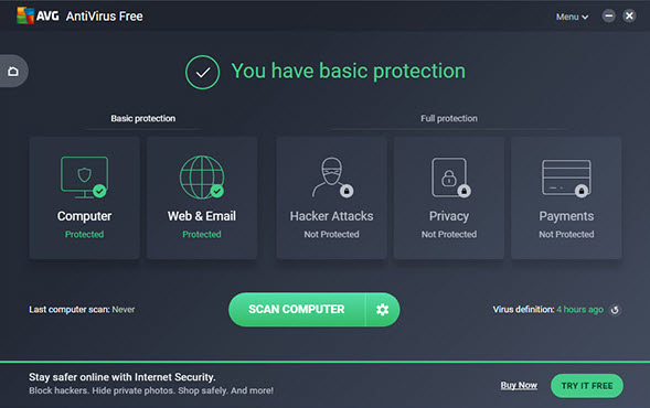Capture d'écran AVG Free Antivirus Edition