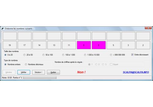 Capture d'écran Ordonner des nombres