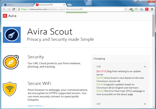 Capture d'écran Avira Scout Browser