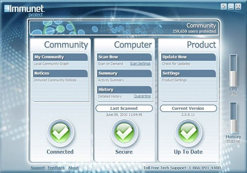 Capture d'écran Immunet Free Antivirus