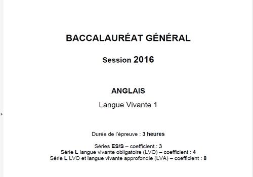 Capture d'écran Bac Anglais LV1 2016 Séries L-ES-S Pondichéry