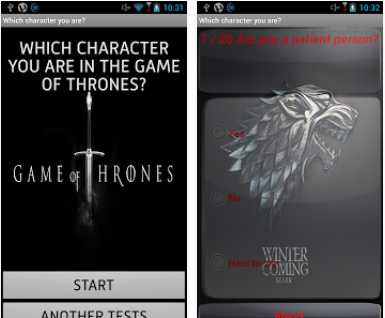 Capture d'écran Who are you in Game of Thrones Android