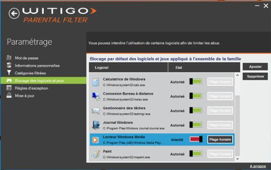 Capture d'écran Witigo Parental Filter