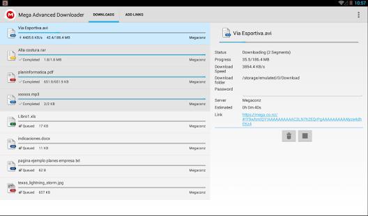 Capture d'écran Mega Advanced Downloader