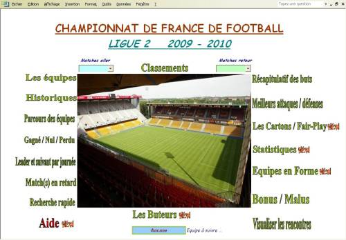 Capture d'écran Ligue2 2009-2010