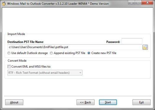 Capture d'écran Best Windows Mail to Outlook Converter